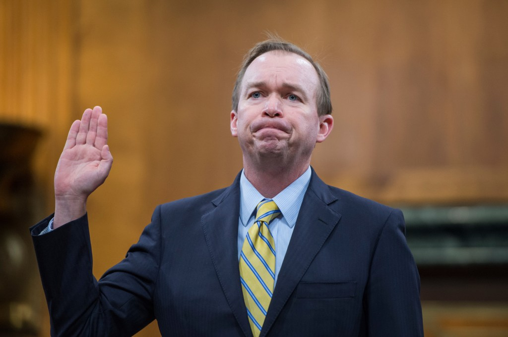 UNITED STATES - JANUARY 24: Rep. Mick Mulvaney, R-S.C., nominee to be director of the Office of Management and Budget, is sworn in during his Senate Budget Committee confirmation hearing in Dirksen Building, January 24, 2017. (Photo By Tom Williams/CQ Roll Call)