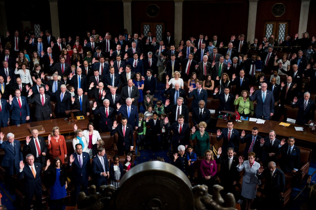 The 115th Congress is sworn in on the House floor on Tuesday. (Bill Clark/CQ Roll Call)