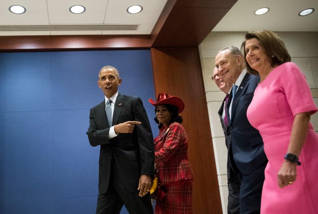 President Barack Obama, Florida Rep. Frederica S. Wilson, New York Rep. Joseph Crowley, Senate Minority Leader Charles E. Schumer, and House Minority Leader <a class=