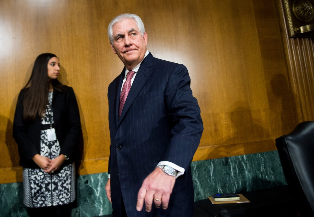 Secretary of State nominee Rex Tillerson arrives for his Senate Foreign Relations Committee confirmation hearing on Wednesday. (Bill Clark/CQ Roll Call)