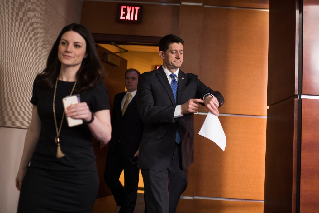 UNITED STATES - FEBRUARY 16: Speaker of the House Paul Ryan, R-Wis., arrives for his weekly news conference in House Studio A, February 16, 2017. (Photo By Tom Williams/CQ Roll Call)