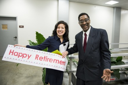 Senate train operator Daryl Chapelle is surprised with a retirement banner by Stephanie Penn, of Senate Minority Leader Mitch McConnell's office, at the Russell Senate Office Building train stop after being honored on the Senate floor on May 1, 2014. After 41 years of working in the Senate, Daryl is retiring.