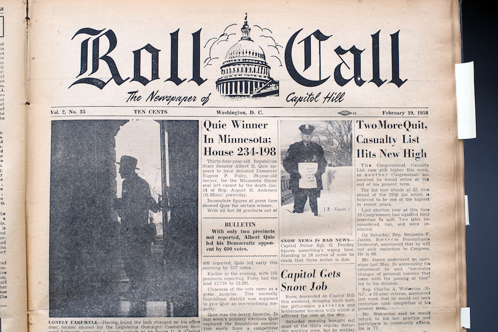 oll Call Newspaper from February 19, 1958. (Photo By Tom Williams/CQ Roll Call)