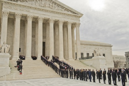 UNITED STATES - FEBRUARY 19: The casket containing the body of Justice Antonin Scalia, who passed away over the weekend, is carried into the Supreme Court to lie repose, February 19, 2016, before his burial tomorrow. His former law clerks served as honorary pallbearers. (Photo By Tom Williams/CQ Roll Call)