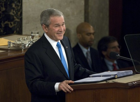President George W. Bush delivering his final State of the Union Address inside the House Chamber at the U.S. Capitol, Washington DC,  on January 28, 2008.