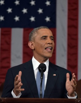 US President Barack Obama delivers the State of The Union address on January 20, 2015, at the US Capitol in Washington, DC.  Credit: Mandel Ngan / Pool Copyright ©2015 Agence France Presse Photos