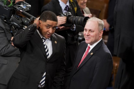 House Majority Whip Steve Scalise, R-La., right, and Rep. Cedric Richmond, D-La., talk in the Capitol's House chamber before President Barack Obama's State of the Union address, January 20, 2015. (Photo By Tom Williams/CQ Roll Call)