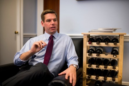 Rep. Eric Swalwell, D-Calif., speaks with Roll Call in his Capitol Hill office on Wednesday, Feb. 11, 2015. (Photo By Bill Clark/CQ Roll Call)