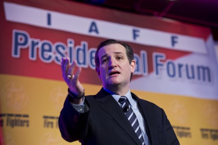 Cruz, R-Texas, speaks during the International Association of Fire Fighters Presidential Forum at the Hyatt Regency on Capitol Hill, March 10, 2015. The day featured addresses by potential presidential candidates. (Photo By Tom Williams/CQ Roll Call)
