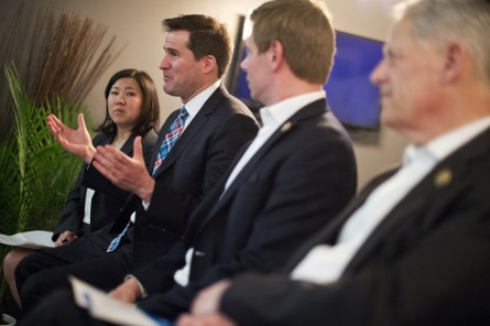 Moulton, D-Mass., along with Reps. Steve Israel, D-N.Y., far right, Eric Swalwell, D-Calif., and Grace Meng, D-N.Y., talk with young entrepreneurs during a Future Forum event at District Cowork in the Flatiron District of New York City, April 16, 2015. (Photo By Tom Williams/CQ Roll Call)