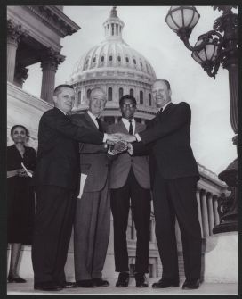 Starting at left, Illinois Reps. Paul Findley and Les Arends, Frank Mitchell and then-House Minority Leader Gerald R. Ford of Michigan. (Courtesy of the Collection of the U.S. House of Representatives, Photography Collection)