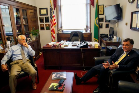 UNITED STATES - JULY 28: Rep. David Reichert, R-Wash., left, and Rep. Luke Messer, R-Ind., speak during an interview in the Longworth House Office Building on Capitol Hill, Tuesday, July 28, 2015. Reichert is the previous Sheriff of King County, Wash. and is working to improve community policing. (Photo By Al Drago/CQ Roll Call)