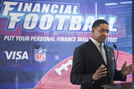 UNITED STATES - MARCH 18:  Rep. Cedric Richmond, D-La., speaks during an event at 101 Constitution Avenue with the National Bankers Association, Visa, and NFL players, to educate teens about financial responsibility, March 18, 2015. At the event, teens and NFL athletes Heisman Trophy winner and New Orleans Saints running back Mark Ingram and Detroit Lions wide receiver Ryan Broyles, played