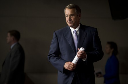 UNITED STATES - JULY 23: Speaker of the House John Boehner, R-Ohio, arrives to hold his weekly on-camera media availability in the Capitol on Thursday, July 23, 2015. (Photo By Bill Clark/CQ Roll Call)