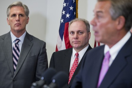 McCarthy, R-Calif., Majority Whip Steve Scalise, R-La., and Speaker John Boehner, R-Ohio, conduct a news conference after a meeting of the House Republican Conference in the Capitol, January 27, 2015. (Photo By Tom Williams/CQ Roll Call)