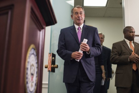 Boehner is going out on a productive week for his chamber. Above, he enters the room for his last weekly press conference of his tenure as Speaker on Tuesday. (Al Drago/CQ Roll Call)