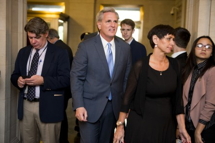 UNITED STATES - OCTOBER 8: House Majority Leader Kevin McCarthy, R-Calif., arrives in the Longworth House Office Building for the House Republicans' election to nominate the next Speaker of the House on Thursday, Oct. 8, 2015. (Photo By Bill Clark/CQ Roll Call)