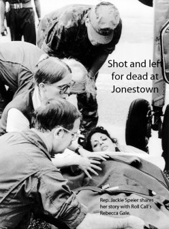 Jackie Speier, an aide to Congressman Leo Ryan, being taken from a plane at Georgetown on November 19, 1978, after its arrival from Jonestown where Speier was shot five times and Ryan and four others were ambushed and killed by members of the People's Temple.  Congressman Leo Ryan was leading a group that went to Guyana to investigate reports of abuse and human rights violations by the People's Temple and its leader, Jim Jones.  Fearing the results of the murders and further investigations into Jonestown, despite Leo Ryan's assertion that he was going to give a largely positive review of the People's Temple, Jim Jones led his followers in a ?revolutionary suicide?.  On November 18, 1978, 909 Temple members died, all but two of which from cyanide poisoning, forming the largest mass suicide in modern history. (Copyright Bettmann/Corbis / AP Images)