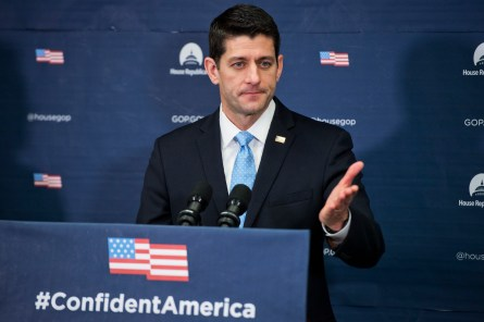 UNITED STATES - JANUARY 12: Speaker Paul D. Ryan, R-Wis., conducts a news conference in the Capitol after a meeting of the House Republican conference, January 12, 2016. (Photo By Tom Williams/CQ Roll Call)