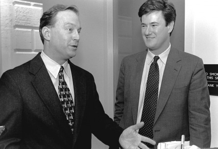 George Radanovich, R-Calif., left, and Joe Scarborough, R-Fla., after Radanovich was elected president of the freshman class. (Scott J. Ferrell/CQ Roll Call File Photo)