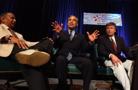 Reps. John Conyers, D-Mich., Charlie Gonzalez, D-Texas, and actor Alec Baldwin, participate in a discussion on the future of the Supreme Court, during the Democratic National Convention 2004  in Boston, Ma. .