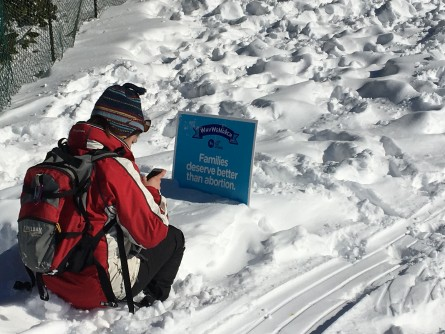Placards from the Jan. 22 March for Life provided makeshift sleds. (Jason Dick/CQ Roll Call)