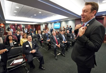 Rep. Trey Radel, R-Fl., addresses a group of people attending the Hispanic Heritage Month event in the U.S. Capitol on September 19, 2013. (Douglas Graham/CQ Roll Call File Photo)