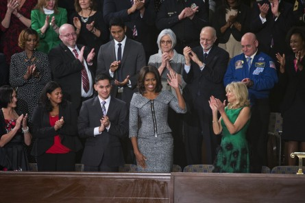 First Lady Michelle Obama arrives in the Capitol's House chamber for the president's 2015 State of the Union address. (Tom Williams/CQ Roll Call File Photo)