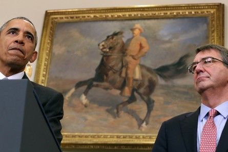 President Obama speaks in the White House's Roosevelt Room on Tuesday about his plan to close the Guantanamo Bay, Cuba, military prison. He was joined by Defense Secretary Ashton Cater (right), with a painting of former President Theodore Roosevelt on horseback behind them. (Photo by Chip Somodevilla/Getty Images)