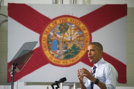 President Obama speaks after touring the Saft America Advanced Batteries Plant in Jacksonville, Fla., on Friday. (Photo by JIM WATSON/AFP/Getty Images)