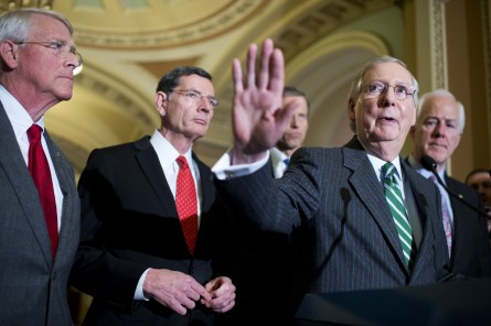 UNITED STATES - FEBRUARY 09: From left, Sens. Roger Wicker, R-Miss., John Barrasso, R-Wyo., John Thune, R-S.D., Senate Majority Leader Mitch McConnell, R-Ky., and Majority Whip John Cornyn, R-Texas, conduct a news conference after the Senate Policy luncheons in the Capitol, February 09, 2016. (Photo By Tom Williams/CQ Roll Call)