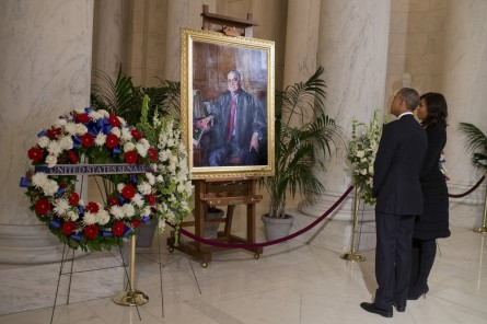 UNITED STATES - FEBRUARY 19: President Barack Obama and First Lady Michelle Obama view a portrait of the late Justice Antonin Scalia as he lies in repose in the Supreme Court, February 19, 2016, ahead of his burial tomorrow. (Photo By Tom Williams/CQ Roll Call)
