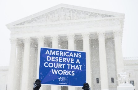UNITED STATES - FEBRUARY 15: Activists with the People For the American Way hold a demonstration outside of the Supreme Court on Monday, Feb. 15, 2016, calling on Congress to give fair consideration to President Obama's nominee to the Supreme Court. Justice Antonin died over the weekend sparking a partisan battle in Washington to fill the vacancy created on the bench. (Photo By Bill Clark/CQ Roll Call)