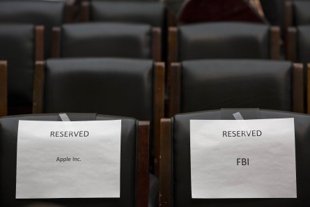 WASHINGTON, DC - MARCH 1:  Seats are reserved for Apple and Federal Bureau of Investigations representatives prior to the start of a House Judiciary Committee hearing titled