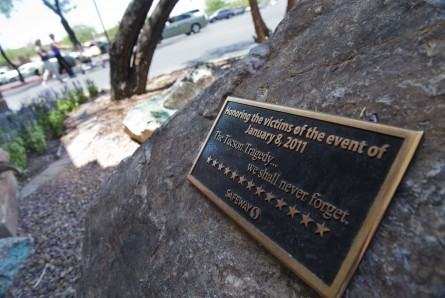 A plaque honors shooting victims of the 2011 attacks outside of a Safeway in Tucson, Ariz., that killed 6 and wounded 13, including then-Rep. Gabrielle Giffords and her aide cum successor, Rep. Ron Barber. (Tom Williams/CQ Roll Call File Photo)