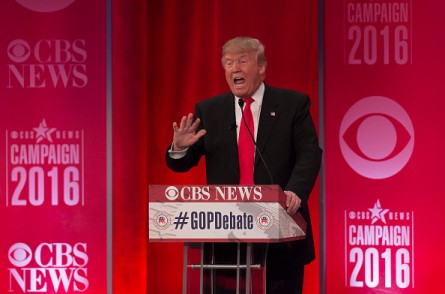 Republican presidential candidate Donald Trump speaks during the CBS News Republican Presidential Debate in Greenville, South Carolina, February 13, 2016.  / AFP / JIM WATSON        (Photo credit should read JIM WATSON/AFP/Getty Images)