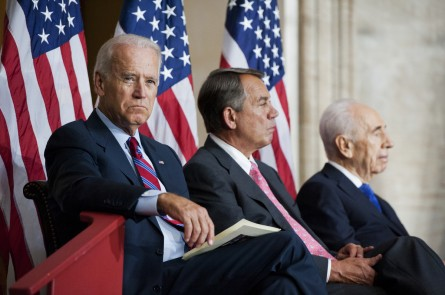 peres ceremony001 062614 445x295 First Clinton, Now Biden Offer Iowa Their Versions of 2016 Populism