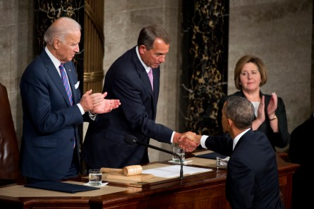 Boehner and Obama each have demurred on introducing a war authorization measure. (Tom Williams/CQ Roll Call)