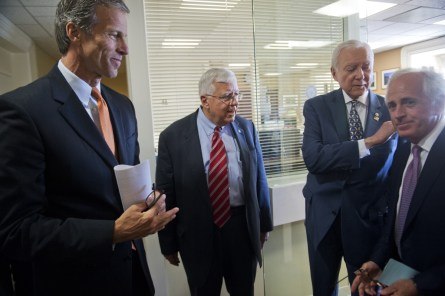 UNITED STATES - JUNE 24: From left, Sens. John Thune, R-S.D., Mike Enzi, R-Wyo., Orrin Hatch, R-Utah, and Bob Corker, R-Tenn., prepare for a news conference to discuss bills passed in the Senate during the first six months of Republican leadership, June 24, 2015. (Photo By Tom Williams/CQ Roll Call)