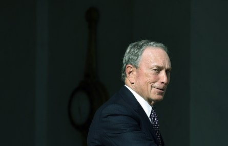 US magnate and philanthropists, and UN Secretary-General's Special Envoy for Cities and Climate Change, Michael Bloomberg, looks on as he leaves following his meeting with the French president at the Elysee palace on June 30, 2015, in Paris. AFP PHOTO / ALAIN JOCARD        (Photo credit should read ALAIN JOCARD/AFP/Getty Images)