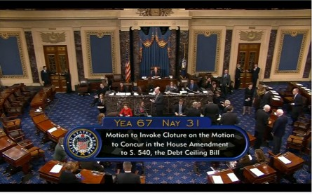 cspan021314 445x278 Senators Debt Limit Votes Kept Off Microphones; Reporters Protest (Updated)