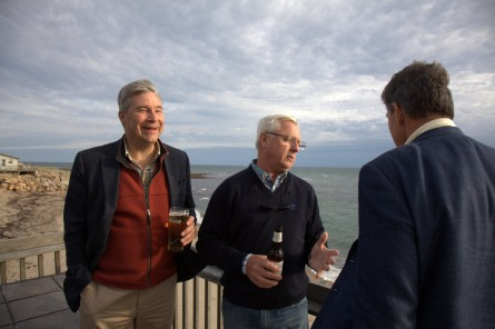 Whitehouse, left, discusses coastal erosion with Fran O'Brien, the owner of Tara's Tipperary Tavern, middle, and Manchin over beers at the end of a daylong tour of the Rhode Island shore. (Niels Lesniewski/CQ Roll Call)
