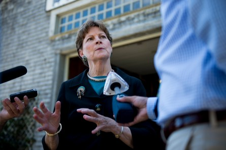 Shaheen, D-N.H., speaks with reporters following her news conference with Secretary of Agriculture Tom Vilsack at the Miles Smith Farm in Loudon, N.H., on Tuesday, Aug. 19, 2014. Sec. Vilsack announced $25 million for nation's farmers to turn commodities into value-added products. (Photo By Bill Clark/CQ Roll Call)