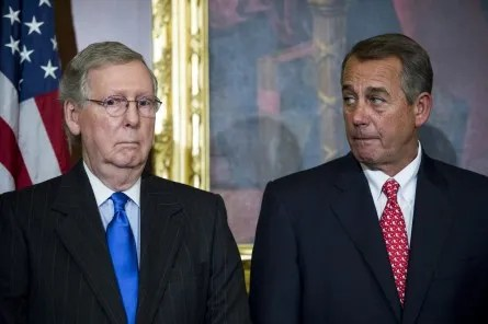 UNITED STATES - FEBRUARY 10: Senate Majority Leader Mitch McConnell, R-Ky., left, and Speaker of the House John Boehner, R-Ohio, participate in the ceremony to sign H.R.203, the
