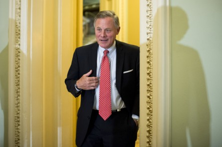 Sen. Richard Burr (R-NC) arrives for the Senate Republicans' policy lunch in the Capitol on Wednesday, Sept. 9, 2015. (Photo By Bill Clark/CQ Roll Call)