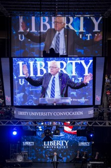 UNITED STATES - SEPTEMBER 14: Presidential candidate Sen. Bernie Sanders, I-Vt., speaks at Liberty University's Convocation in Lynchburg, Va., on Monday, Sept. 14, 2015. (Photo By Bill Clark/CQ Roll Call)