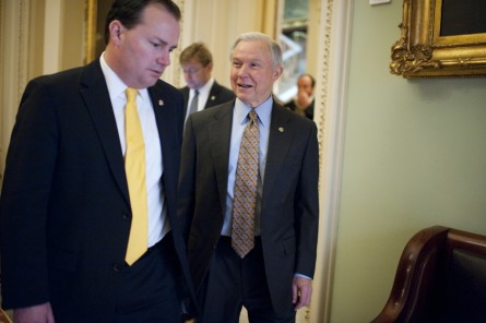 From left, Sens., Mike Lee, R-Utah, Dean Heller, R-Nev., and Jeff Sessions, R-Ala., arrive for the Senate Republican Steering Committee luncheon in the Capitol.  (Photo By Tom Williams/CQ Roll Call File Photo)