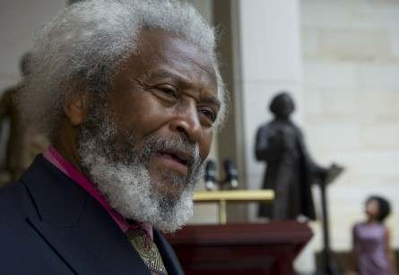 Michael E. Crutcher, Sr. of Historical Presentations and an impersonator of Fredrick Douglass, was on hand for the statue dedication ceremony in Emancipation Hall in the Capitol Visitors Center of the U.S. Capitol.  (Douglas Graham/CQ Roll Call.)