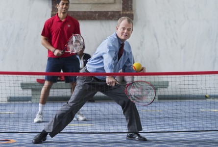 Back in May, Rep. Mike McIntyre, took part in a USTA event in the Rayburn Office Building to demonstrate equipment used to appeal to young children to take up tennis. Avi Parida of the USTA also appears. (Tom Williams/CQ Roll Call)