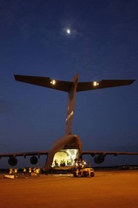 The GPS IIF-10 satellite is loaded on a C-17 Globemaster III for transport to Cape Canaveral Air Force Station in Florida.